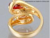 Cor brilhante J00116 do ouro do anel 18K da jóia da simulação de Diamante da gema da gota da água