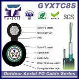 Prix autosuffisant aérien de câble fibre optique de jupe du PE Figure8 (GYXTC8S)