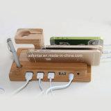 Sostenedor de bambú de múltiples funciones del soporte del escritorio del teléfono para el iPad del iPhone con el cable del cargador