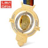 カスタマイズされたエナメル選手権のダンス音楽のスポーツの金属はスポーツのMedalingメダル円形浮彫りのWitnのリボンを与える
