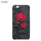 para o caso do iPhone 7, caso Handmade da tampa traseira da flor de Rosa da potência da menina do bordado do vintage para o iPhone 7 de Apple