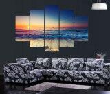 Pintura moderna de la impresión del cuadro del arte de la pared de la salida del sol del paisaje marino de la decoración del hogar de la decoración de la pared de la sala de estar de la talla grande en arte impreso lona