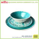 Color verde de cerámica como el tazón de fuente de ensalada de la melamina