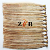 ピアノカラーインドのRemyの人間の毛髪の平らな先端の前担保付きの毛の拡張