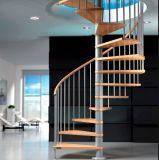 Escalera en espiral de metal decorativos interiores en madera y vidrio