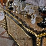 Tabella pranzante classica di legno solido Europ di disegno reale dorato di 0061