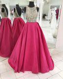 ビーズの宝石類のイブニング・ドレスの袖なしの紫色の実質の結婚披露宴の服E13231