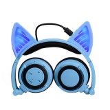 Bluetooth Foldable de incandescência do rádio dos auriculares da orelha de gato da luz do diodo emissor de luz