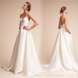 Спагетти Strapes устраивающих платье Backless Гарден Бич простые свадебные платья Z8046