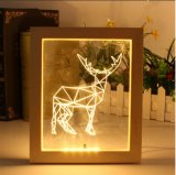 Deerhorn 3D com Picture Frame LED Lâmpada Visual ilusão de decoração de Desktop da lâmpada pequena luz nocturna