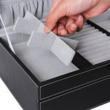 Caixa preta do armazenamento do organizador do relógio da caixa de jóia 6 com fechamento e espelho