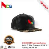 Chapeau plat de Snapback de cuir de broderie de configuration de logo de 2017 modes avec le bord de Camo