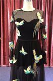 2018 Fashion вышивки птиц длинными рукавами платье вечер черного цвета
