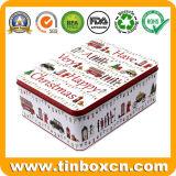 Envase grande rectangular del estaño del metal de la Navidad para el rectángulo de almacenaje del regalo