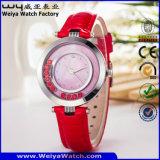 Вскользь wristwatch повелительниц кварца кожаный планки ODM (Wy-067B)