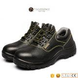 Sapatas de segurança de aço do trabalho de pouco peso genuíno preto dos homens