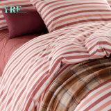 Hotel cor-de-rosa da tampa de base da venda por atacado da planície do algodão da listra