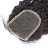 Fechamento Curly brasileiro do laço 4*4 com cabelo do bebê