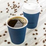 Una tapa tres tamaños de 12 onzas desechable azul medianoche café de la pared de rizo
