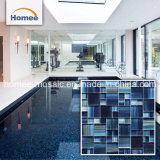 Tuiles en verre peintes à la main en cristal de piscine de mosaïque de bleu marine