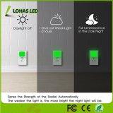 Nightlights verdi con crepuscolo da albeggiare lampada inserita/disinserita automatica di notte del sensore 0.3W LED per la camera da letto di corridoio della scuola materna