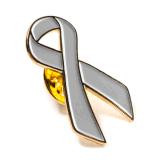 Usine de la vente directe du cancer du sein broche métallique de ruban insignes