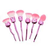 6pzas Flor brochas de maquillaje profesional única Rosa Cepillos Kabuki para batir la crema de contorno Kit de cosmética para la Fundación, juego de pinceles de maquillaje en polvo suelto