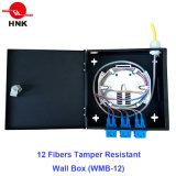 12 Núcleos resistente à sabotagem da caixa de montagem em parede de Fibra Óptica