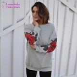 Gola redonda florais regulares de Manga Longa Pulôver Encapuçados Camisolas de algodão