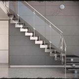 Un interior moderno de vidrio de acero escaleras con barandilla de vidrio