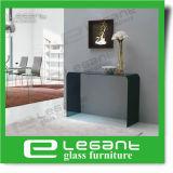 Limpar o vidro curvado mesa console com prateleira de vidro temperado