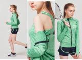 Vestiti correnti di yoga delle donne della chiusura lampo di forma fisica del cappotto degli abiti sportivi di vendita calda