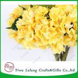 Enige Plastic Valse Bloem van de Hydrangea hortensia van de Stam in Gele Kunstbloemen
