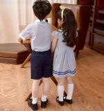 Vestido feito sob encomenda da farda da escola do jardim de infância do verão do terno das fardas da escola dos meninos e das meninas