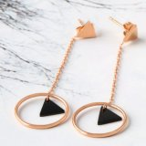 Boucles d'oreille de baisse d'acier inoxydable de mode de bijou de femmes élégants longues