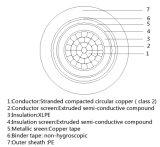 1X70mm2 Tela de fita de cobre Isolados em XLPE PE 6/10da bainha do cabo de kv