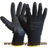 Guantes revestidos negros de la seguridad de las palmas negras de la PU de los guantes del nilón/del poliester