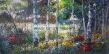 Hechos a mano de pintura lienzo árboles forestales con fuertes texturas para decoración de pared