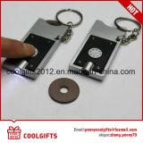 Chariot de LED en plastique de promotion des pièces en euros, chariot de trousseau Coin Key Ring