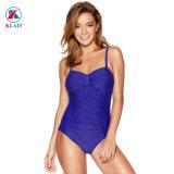 Contrôle de nylon personnalisée Ruched ventre multiple maillot de bain bleu