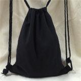Sacchetto di Drawstring nero della tela di canapa del cotone