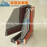 El grano de madera pintura perfiles de aluminio para ventanas y puertas corredizas de vidrio