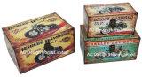 S/3 de Decoratieve Antieke Uitstekende Doos van de Boomstam van de Opslag van de Druk Pu Leather/MDF van het Ontwerp van de Motorfiets Rechthoekige Houten