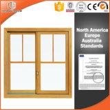 Ventana de deslizamiento, ventana corrediza de madera maciza, de aleación de aluminio revestido de madera ventana deslizante con Hardware de la marca americana