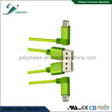 O USB datilografa a C 90 graus dobrados a USB2.0 a/Male com cabeça e trança de Matel para telefones/portáteis