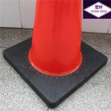 Cones de sécurité routière de la base noire de PVC