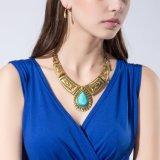 宝石類は女性のためのCalaiteのレトロの青銅色のネックレスそしてイヤリングによって過大視されるデザインをセットする