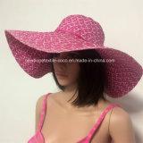 100% соломенной шляпе, Мода Стиль Floppy с полоской / Silver / String / Hollow Style