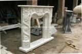 백색 Carrara 고대 손에 의하여 새겨지는 대리석 벽난로 벽로선반 Sy-Mf327