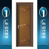 Деревянные двери в ванной комнате салона из алюминия цвета